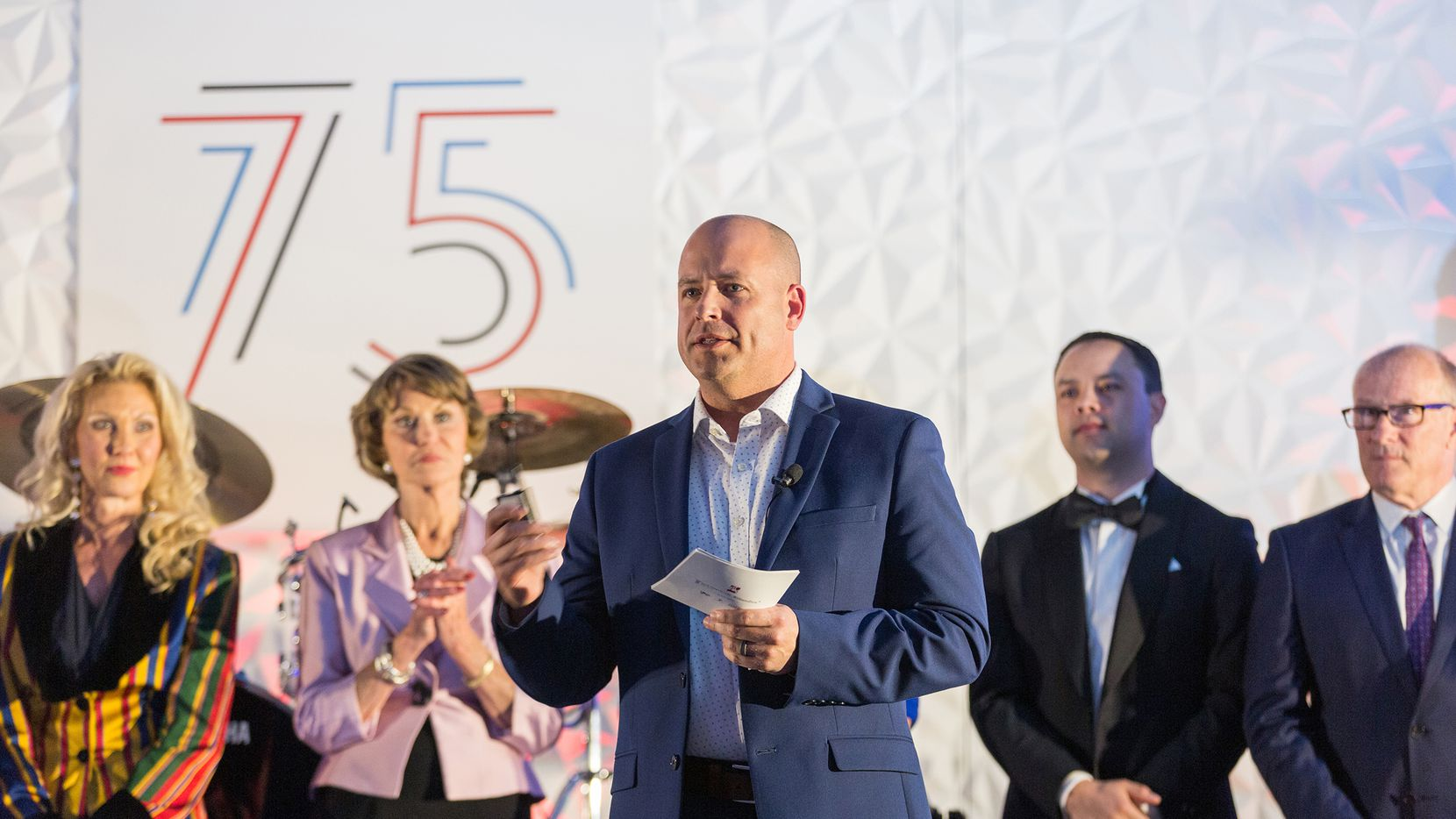 Ebby Halliday Companies' president and CEO Chris Kelly addressed a crowd of about 1,800 attendees at the recent companywide 75th anniversary celebration.