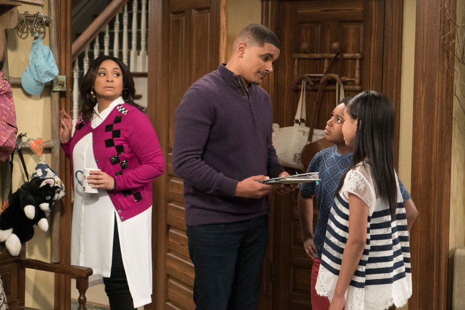 When Raven (Raven-Symone, left) has a vision of Booker (Isaac Ryan Brown) and Nia (Navia Robinson) being upset over their dad's move, she goes overboard trying to do all of the fun activities Devon (Jonathan McDaniel, second from left) normally did with the kids.