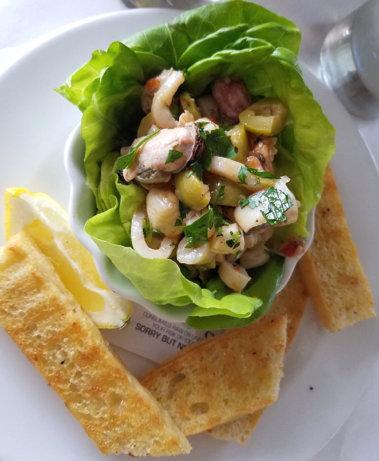 Olive-studded ceviche arrives in a lettuce shell at Del Porto Ristorante, a top-flight Italian restaurant in Covington, La., across Lake Pontchartrain from New Orleans.