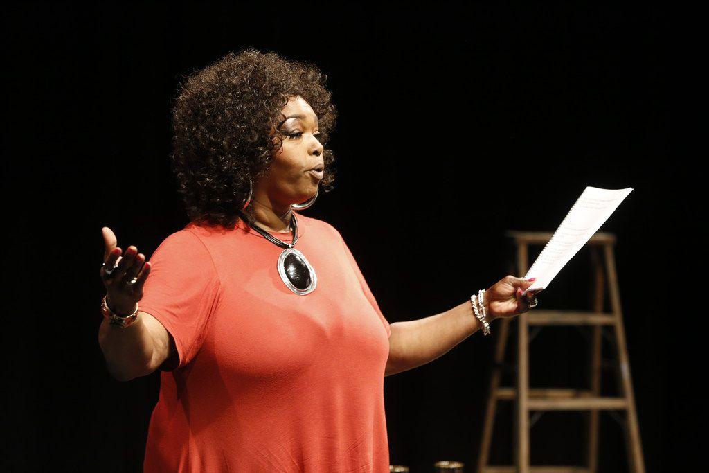Liz Mikel acts in a production of 'White Rabbit, Red Rabbit' at Wyly Theatre's Studio Theatre in Dallas on May 30. The one actor in the play receives the play when they walk on stage.