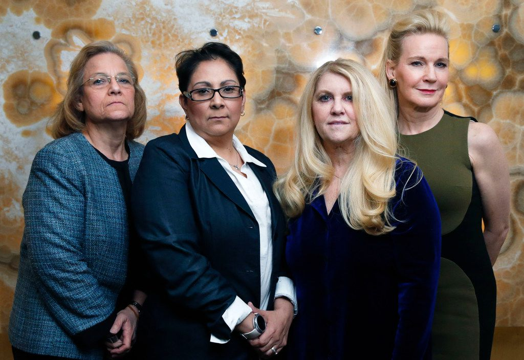 From left: Property owners Debbie Zhanel, Joanne Alonzo-Gloria, Laurie Hasty and Tomima Edmark at a property owned by Edmark in Dallas on Feb. 18, 2019. They own property within 500 feet of the proposed site of a new Salvation Army facility.