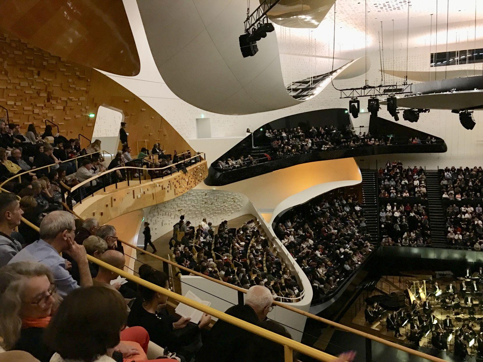 A view inside the Philharmonie de Paris concert venue during the Orchestre National de Lyon concert on Oct. 4, 2019