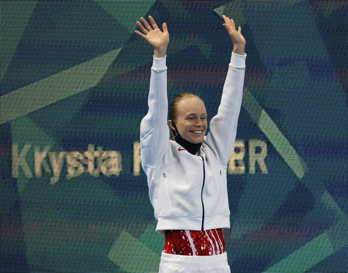 USA's Krysta Palmer waves as she is introduced before the start of the women's 3 meter springboard semifinal competition during the postponed 2020 Tokyo Olympics at Tokyo Aquatics Centre, on Saturday, July 31, 2021, in Tokyo, Japan. (Vernon Bryant/The Dallas Morning News)