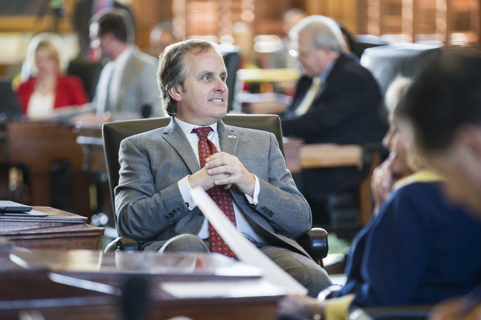 Senator Bryan Hughes, R-Mineola, sits at his desk on the second day of the 86th Texas Legislature on Wednesday, January 9, 2019 at the Texas State Capitol, in Austin, Texas.  Hughes is the author of a sweeping electoral bill tabled in the 2021 session (Ashley Landis / The Dallas Morning News)