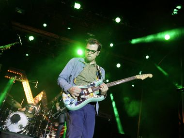 "Weezer performs during ""The Reunion"" event in downtown Dallas on Oct. 9, 2015."