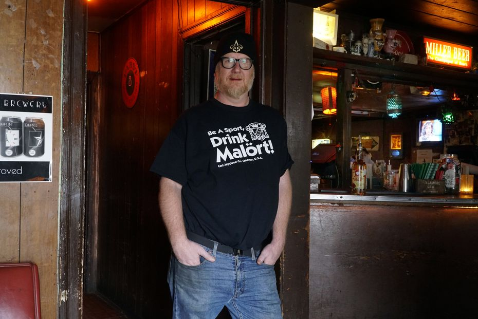 Bartender Zach Anderson, who helped drive Malort's rising popularity in Dallas, at Lee Harvey's in Dallas on Monday, Jan. 13, 2020.