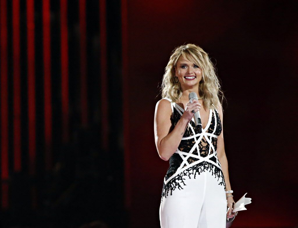 """Miranda Lambert smiles after receiving Song of the Year for """"Automatic"""" during the 2015 Academy of Country Music Awards Sunday, April 19, 2015 at AT&T Stadium in Arlington, Texas."""