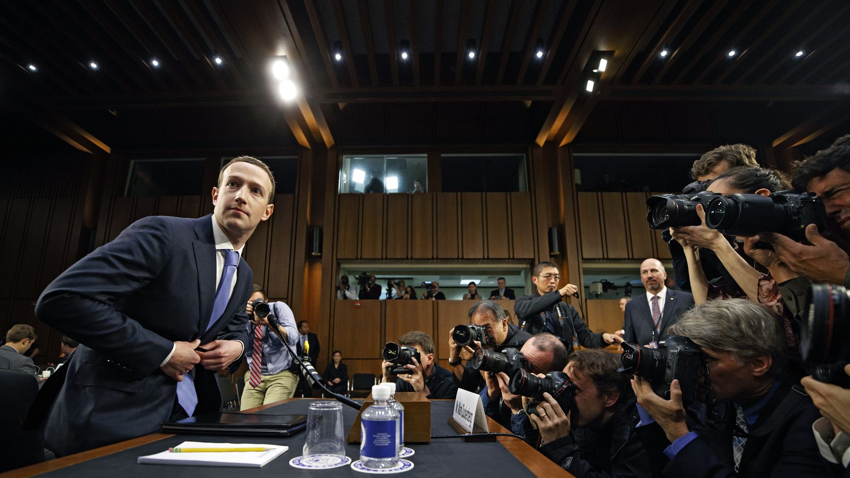 Facebook CEO Mark Zuckerberg testified at a Senate hearing in Washington and apologized for not protecting users' data. (Tom Brenner/The New York Times)