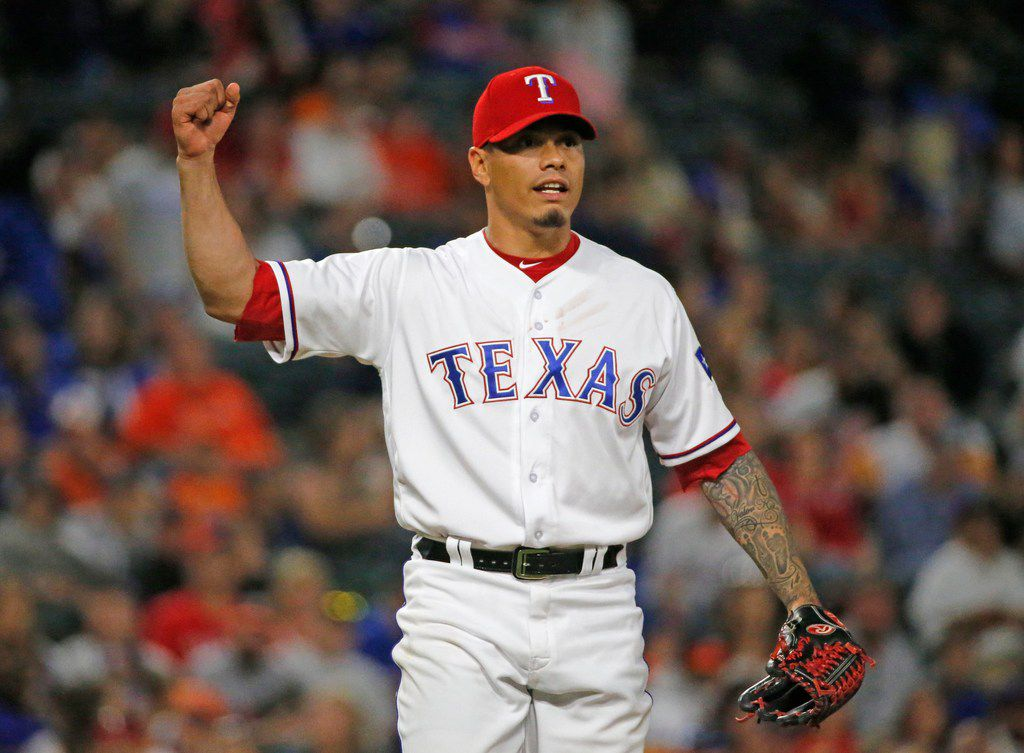 Texas Rangers relief pitcher Keone Kela (50) is pictured during the Houston Astros vs. the Texas Rangers major league baseball game at Globe Life Park in Arlington on Friday, March 30, 2018.  (Louis DeLuca/The Dallas Morning News)
