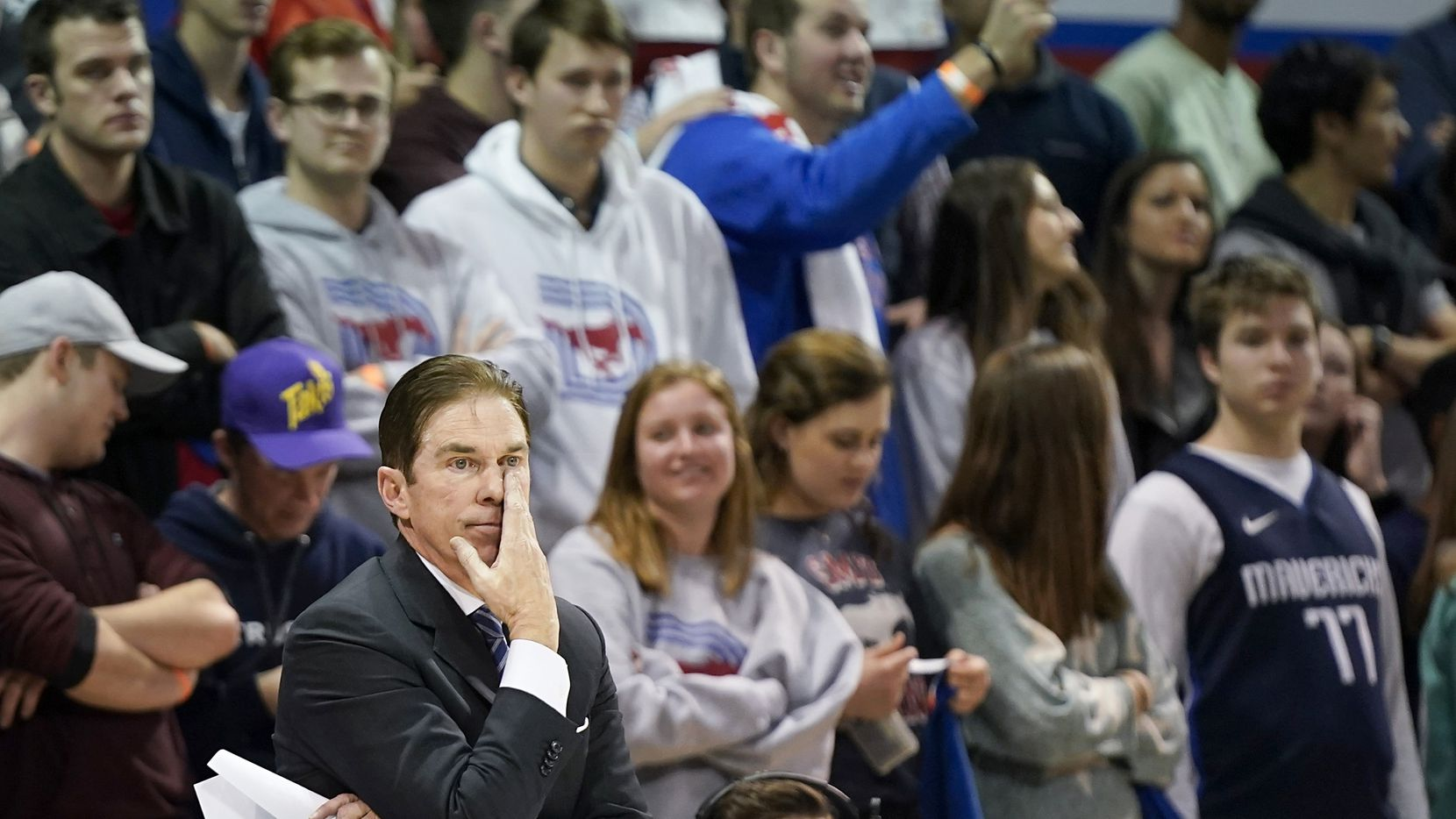 SMU head coach Tim Jankovich watches from the bench during the second half of an NCAA basketball game against Tulane at Moody Coliseum on Saturday, Feb. 1, 2020, in Dallas. SMU won the game 82-67.