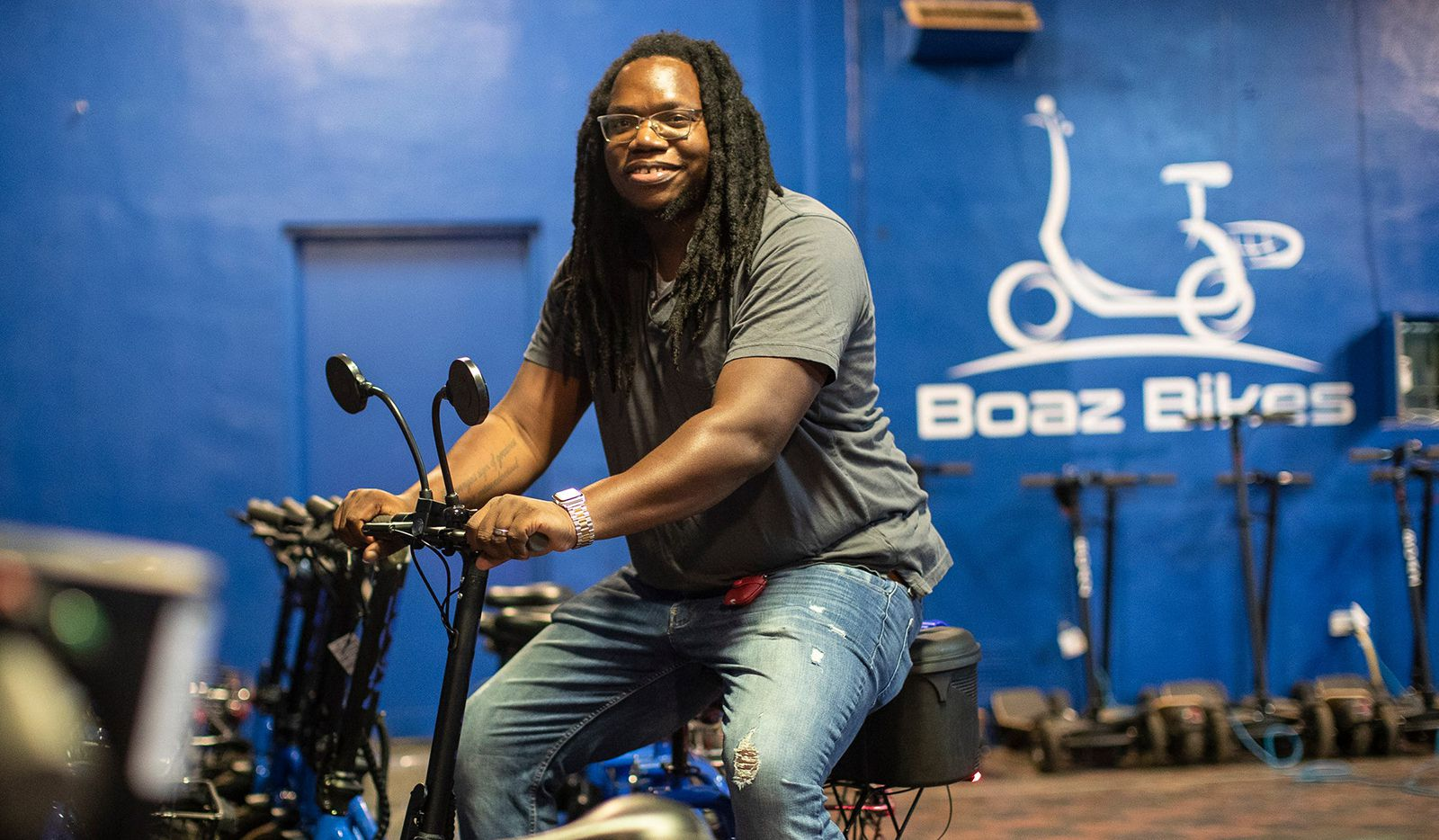 Boaz Bikes is one of the few Black-owned e-scooter companies in the country, and one of only two that are headquartered in Detroit and not the West or East Coast. Boaz founder and CEO Emil Nnani, 32, who grew up in Raleigh, N.C., has had a unique journey to becoming an e-scooter company founder. He is a former Bloods gang member who, after serving stints in juvenile jail for robbery, found Christ and became a Christian hip-hop artist known as E-Fetti. Prior to starting Boaz, Nnani had a Christian apparel business that he eventually sold and an errands-on-demand startup based in Dallas, where he resides with his wife and family when not in Detroit.