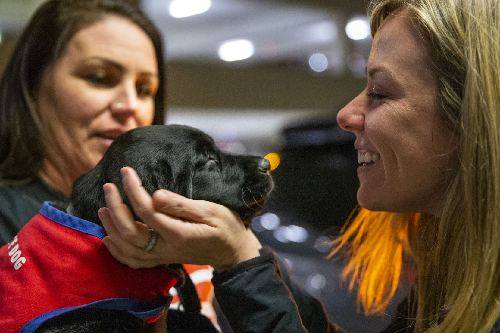 Caroline Clayton (right) says goodbye to 8-week-old Pine at DFW International Airport. The puppy, now known as Chopper, joined two litters of puppies for training at Patriot Paws Service Dogs.