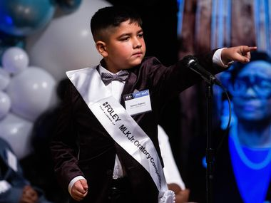 Dominic Patermo of Harry C. Withers Elementary competes during the 29th annual MLK Jr. Oratory Competition at W.H. Adamson High School on Jan. 14, 2020.