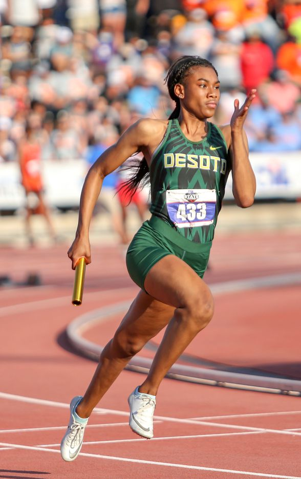 Amelliah Birdow of DeSoto competes in the 6A Girls 4x200 meter relay during the UIL state track meet at the Mike A. Myers Stadium, at the University of Texas on May 8, 2021 in Austin, Texas.