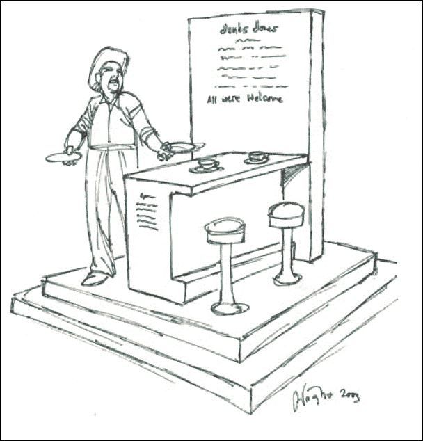 A drawing by Richland Hills sculptor Deran Wright from 2003 about a potential statue honoring Jinks Jones of Southlake.