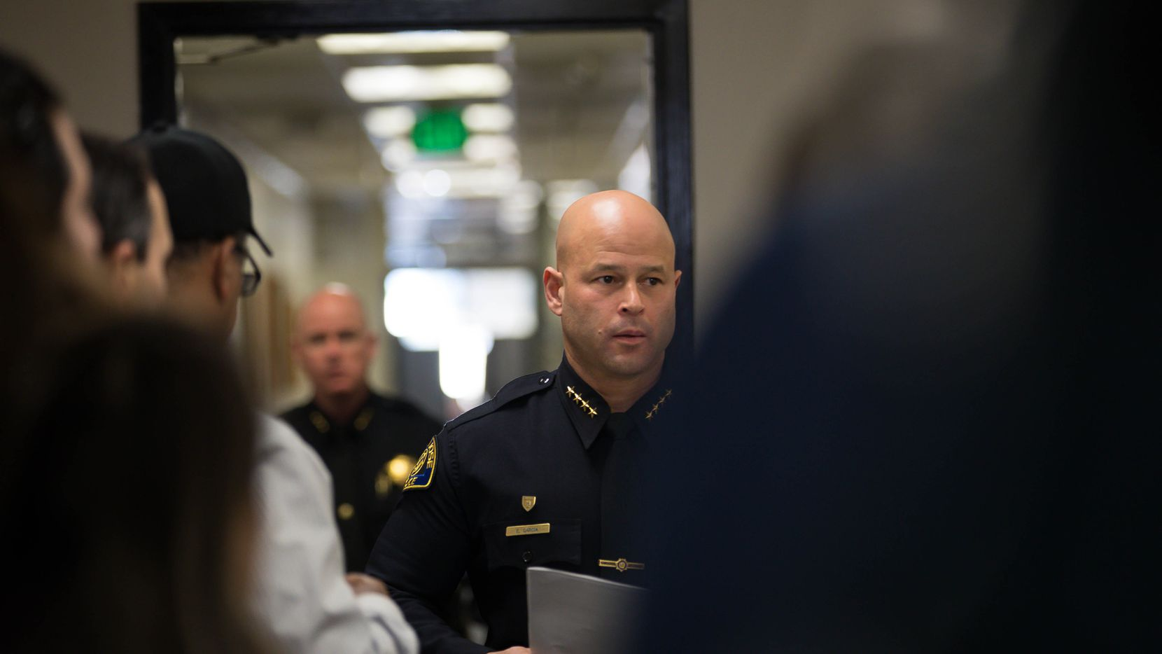 San Jose Police Chief Eddie Garcia, center, walks into a press conference at the San Jose Police Department in San Jose, Calif., on Tuesday, March 12, 2019. (Randy Vazquez/MediaNews Group/The Mercury News via Getty Images)