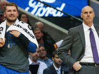 Dallas Mavericks forward Luka Doncic (77) and Dallas Mavericks head coach Rick Carlisle stand on the sideline during the first half of a matchup between the Dallas Mavericks and the Houston Rockets on Sunday, March 10, 2019 at the American Airlines Center in Dallas. (Ryan Michalesko/The Dallas Morning News)