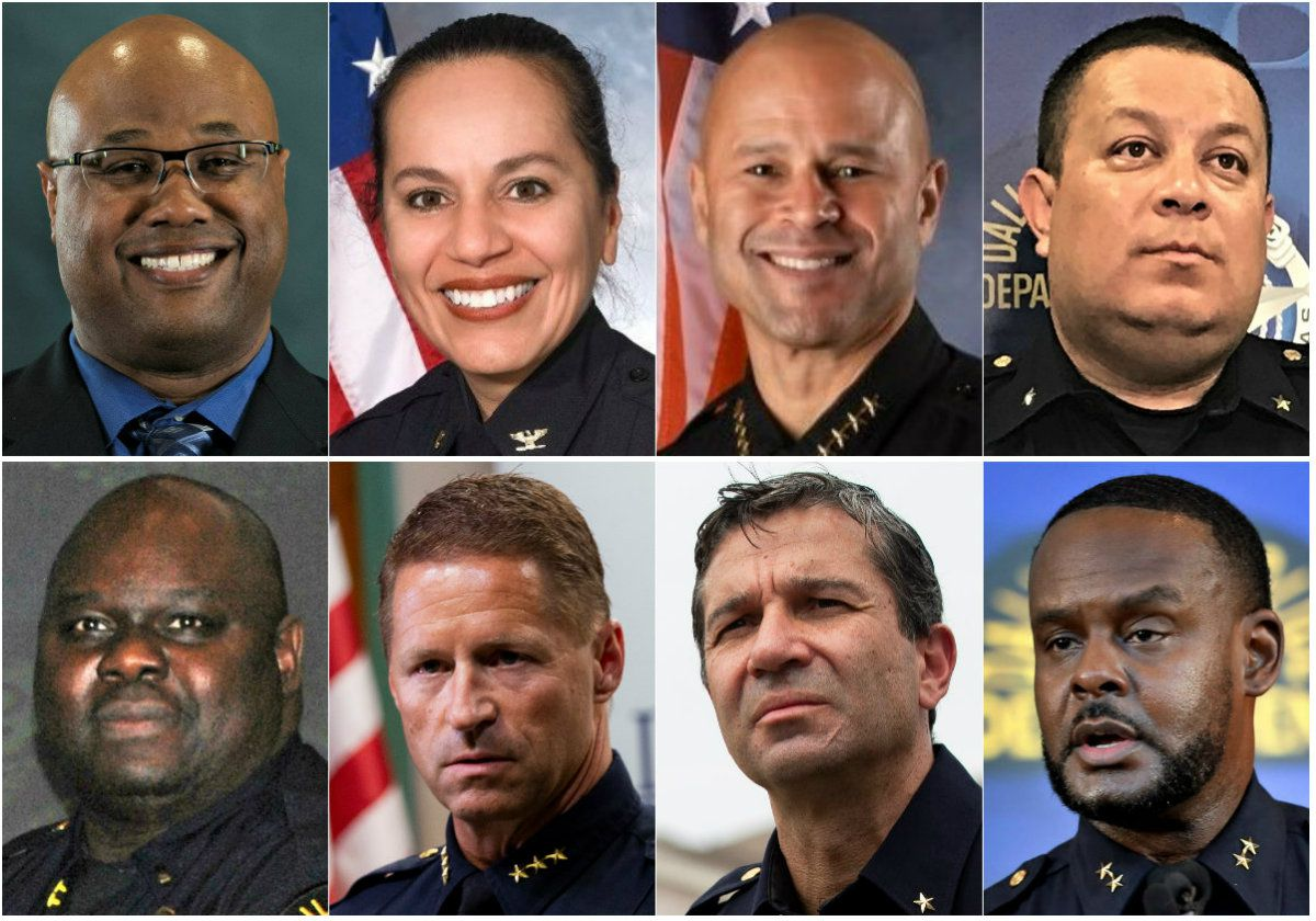 Dallas City Manager T.C. Broadnax on Thursday, Dec. 10, 2020, announced seven finalists to replace U. Renee Hall as the city's next police chief. They are (clockwise from top left) Dallas police Maj. Malik Aziz; Charlottesville, Va., Police Chief RaShall Brackney; San Jose, Calif., Police Chief Eddie Garcia; Dallas Catholic Diocese security director Albert Martinez; Dallas Assistant Police Chief Avery Moore; Dallas Deputy Police Chief Reuben Ramirez; and Irving Police Chief Jeff Spivey. Broadnax also announced that Dallas Assistant Police Chief Lonzo Anderson (bottom left) will become interim chief on Dec. 15.