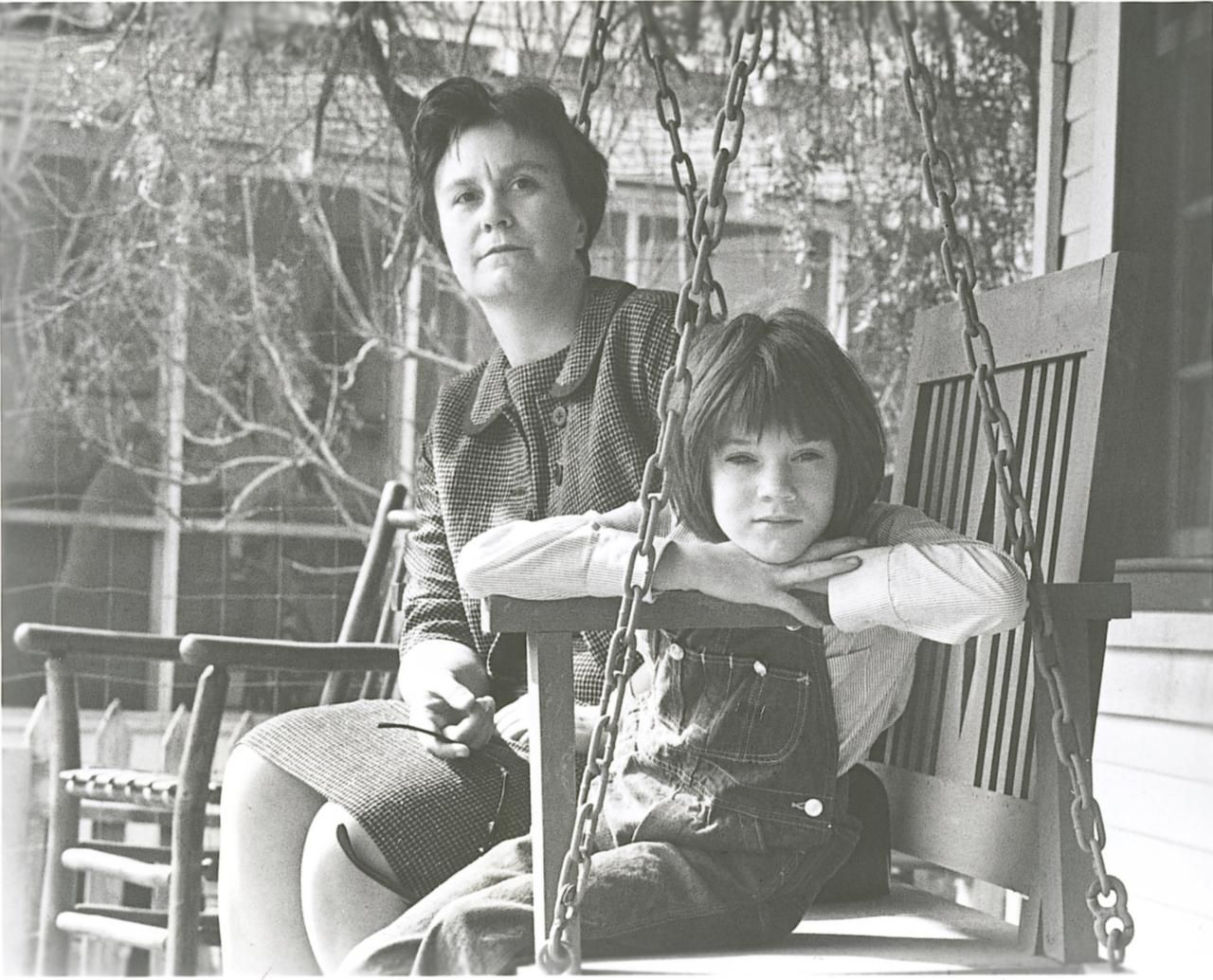 Author Harper Lee with 9-year-old Mary Badham, who portrayed Scout Finch in the screen adaptation of To Kill a Mockingbird.