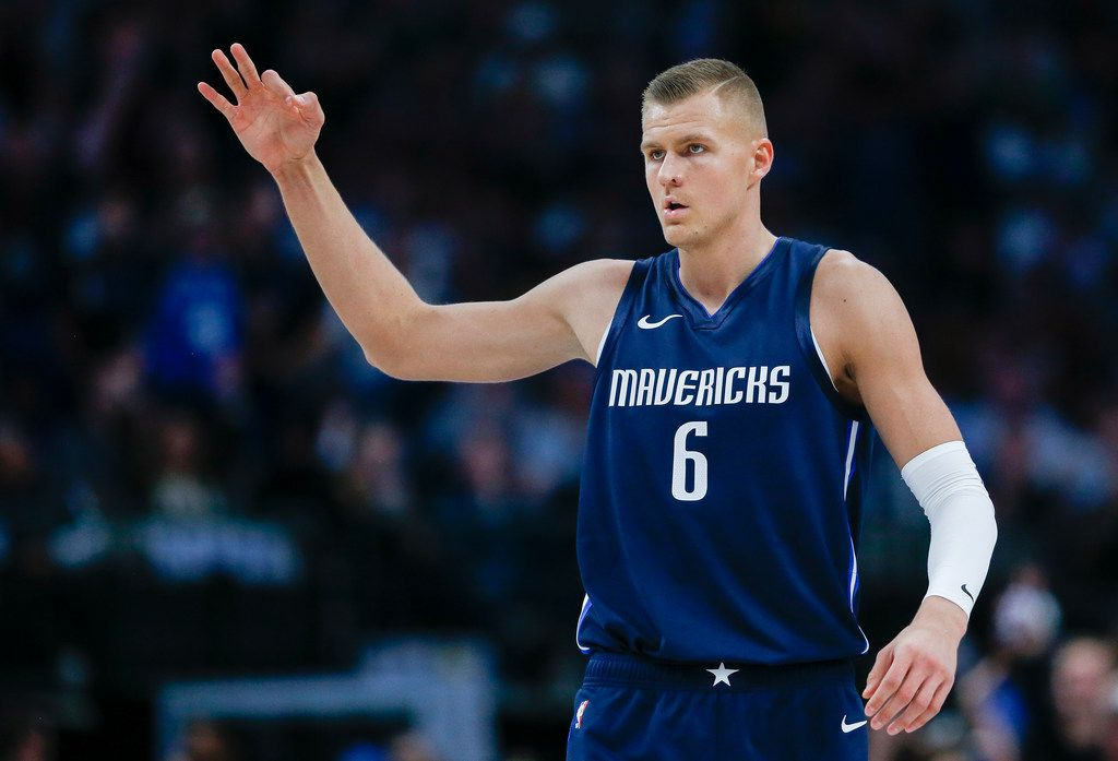 Kristaps Porzingis (6) celebrates a play during the second quarter of an NBA game between the Dallas Mavericks and the Orlando Magic on Wednesday, Nov. 6, 2019 at American Airlines Center in Dallas.