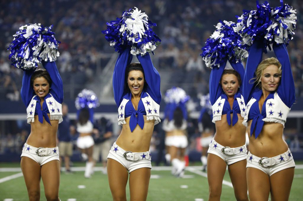 The Dallas Cowboys cheerleaders perform during an NFL preseason football game against the Miami Dolphins in August.