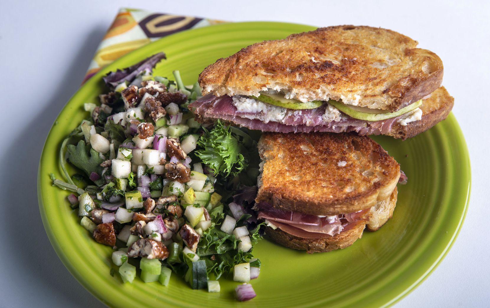 A grilled prosciutto, pear and gorgonzola sandwich