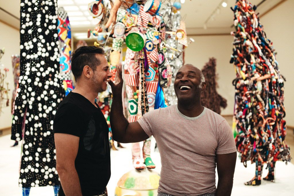 """Nick Cave and special projects director Bob Faust on site of Cave's recent exhibition and performance series """"Here Hear"""" at Cranbrook Art Museum in Michigan. (Photo courtesy of Shreveport Regional Arts Council)"""