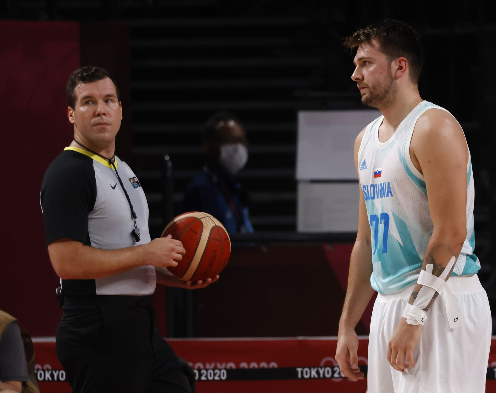 Slovenia's Luka Doncic (77) stares in the direction of the official after a play in a game against Australia during the second quarter of play in the bronze medal basketball game at the postponed 2020 Tokyo Olympics at Saitama Super Arena, on Saturday, August 7, 2021, in Saitama, Japan. (Vernon Bryant/The Dallas Morning News)