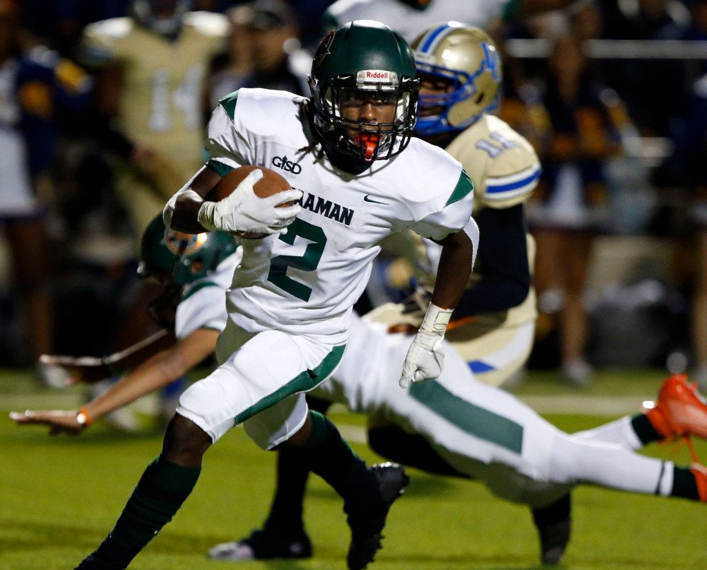 Naaman Forest Kingsley Bennett (2) takes his fumble recovery back for a touchdown during the first half of the team's high school football game against Lakeview Centennial high school football game at Homer B. Johnson Stadium on Friday, November 8, 2019. (John F. Rhodes / Special Contributor)