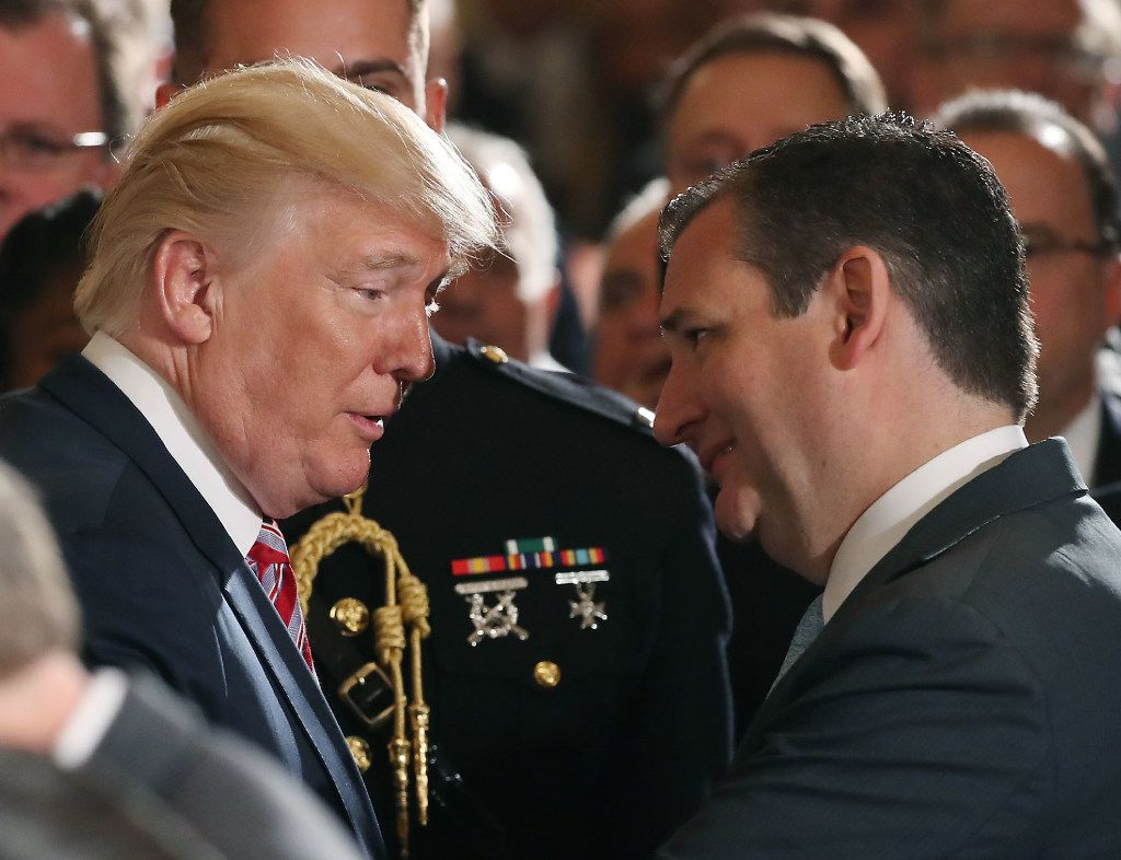 President Donald Trump talks with Sen. Ted Cruz during a White House event on June 5.