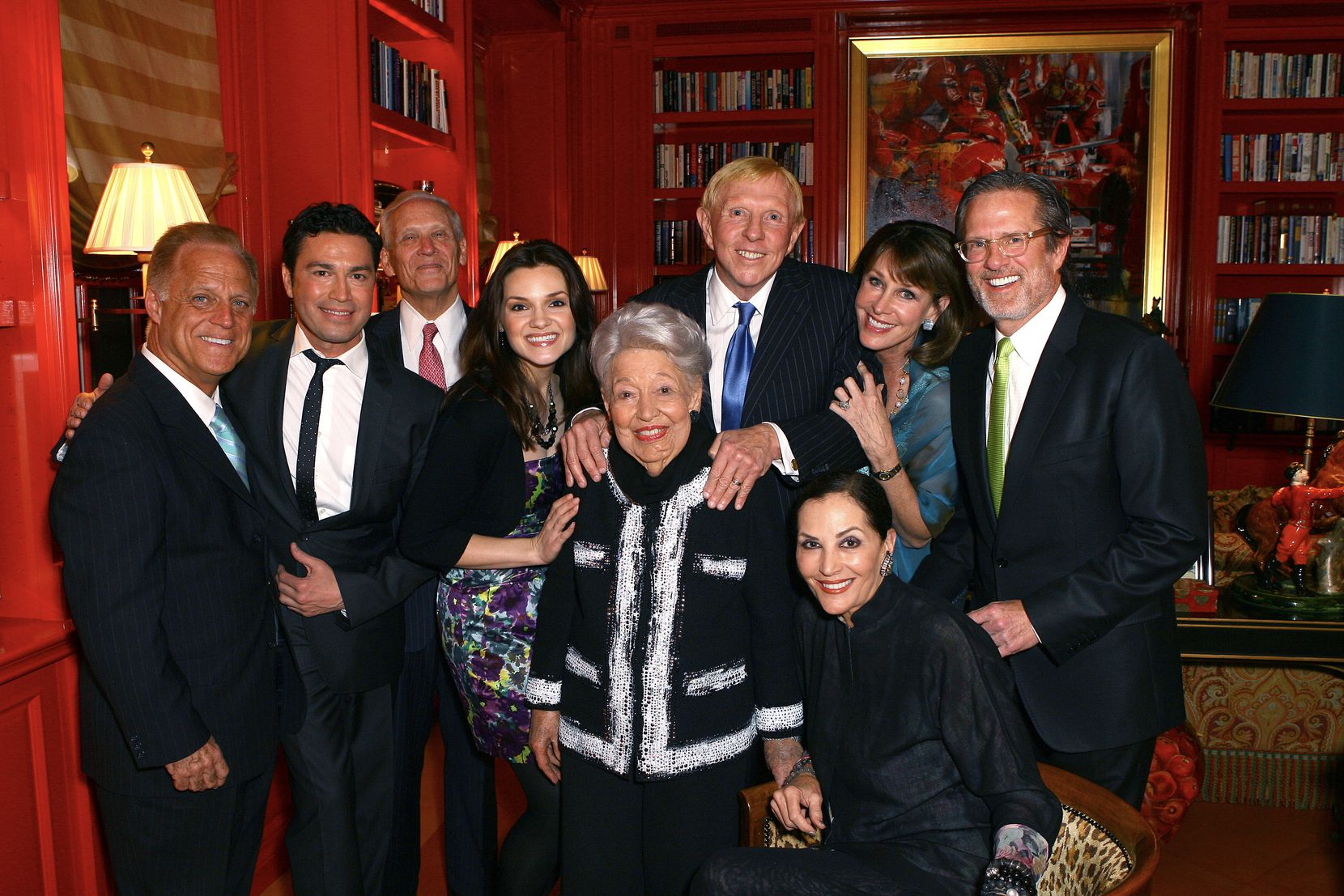 The Horatio Alger Association of Distinguished Americans celebrated Ebby Halliday's 100th birthday at the home of Jan Miller and Jeff Rich in March 2011. From left: Terry Giroux, executive director of Horatio Alger; vocalist Mario Frangoulis; retired banker Jody Grant; soprano Andriana Chuchman; Ebby Halliday; Steve and Barbara Durham; and Jeff Rich. Jan Miller is at lower right.
