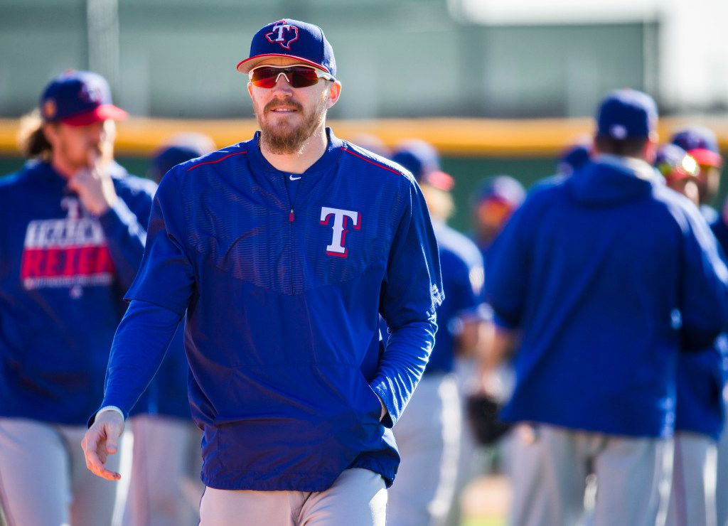 Texas Rangers relief pitcher Jake Diekman (41) walks to the next field during a spring training workout at the team's training facility on Thursday, February 23, 2017 in Surprise, Arizona. (Ashley Landis/The Dallas Morning News)
