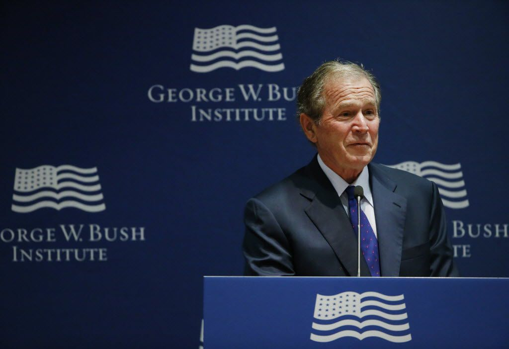 Former United States President George W. Bush makes comments during the graduation ceremony of The Liberty and Leadership Forum's 2016 Class of Young Leaders from Burma at the George W. Bush Presidential Center in Dallas Wednesday May 25, 2016. (Andy Jacobsohn/The Dallas Morning News)