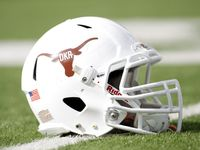 Nov 10, 2012; Austin, TX, USA; Texas Longhorns helmet featuring a DKR logo in honor of former head coach Darrell Royal before a game against the Iowa State Cyclones at Darrell K Royal-Texas Memorial Stadium. Mandatory Credit: Brett Davis-US PRESSWIRE