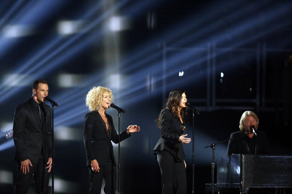 Little Big Town performs during the 2015 Academy of Country Music Awards Sunday, April 19, 2015 at AT&T Stadium in Arlington, Texas.