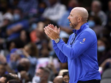 Dallas Mavericks head coach Jason Kidd applauds his team face the Utah Jazz in the second half at the American Airlines Center in Dallas, Wednesday, October 6, 2021. The Mavericks defeated the Jazz, 111-101.