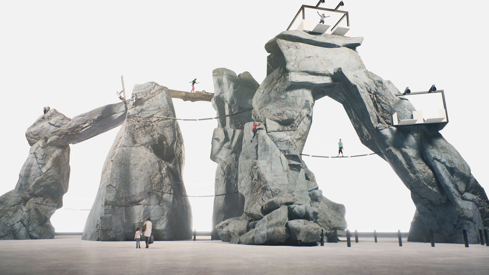 A rendering shows the rock climbing structures at Bolder Adventure Park, which is scheduled to open in 2022 in Grand Prairie.
