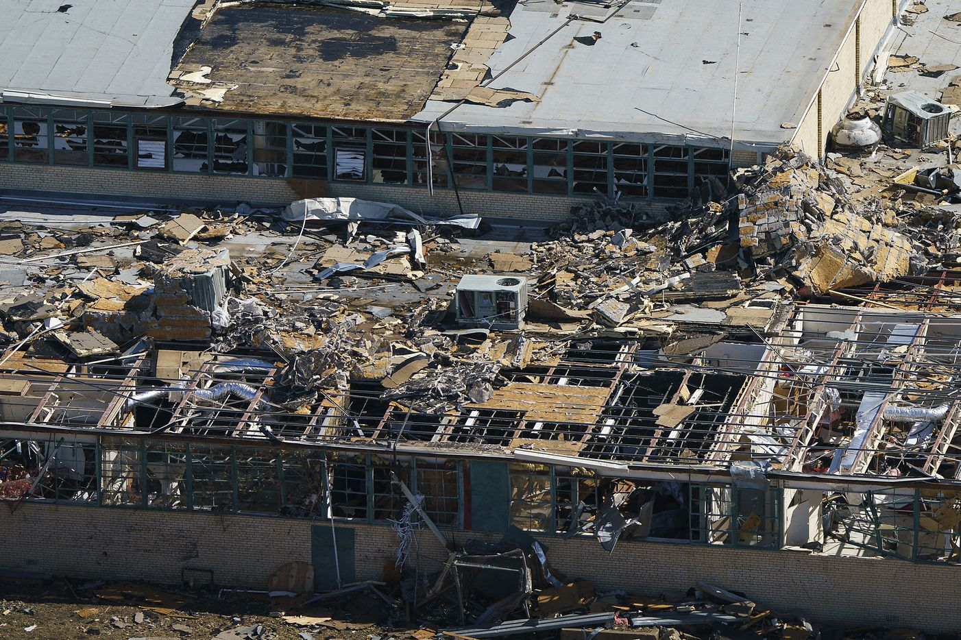 Tornado damage is seen an aerial view of Thomas Jefferson High School on Monday, Oct. 21, 2019, in Dallas. (Smiley N. Pool/The Dallas Morning News)