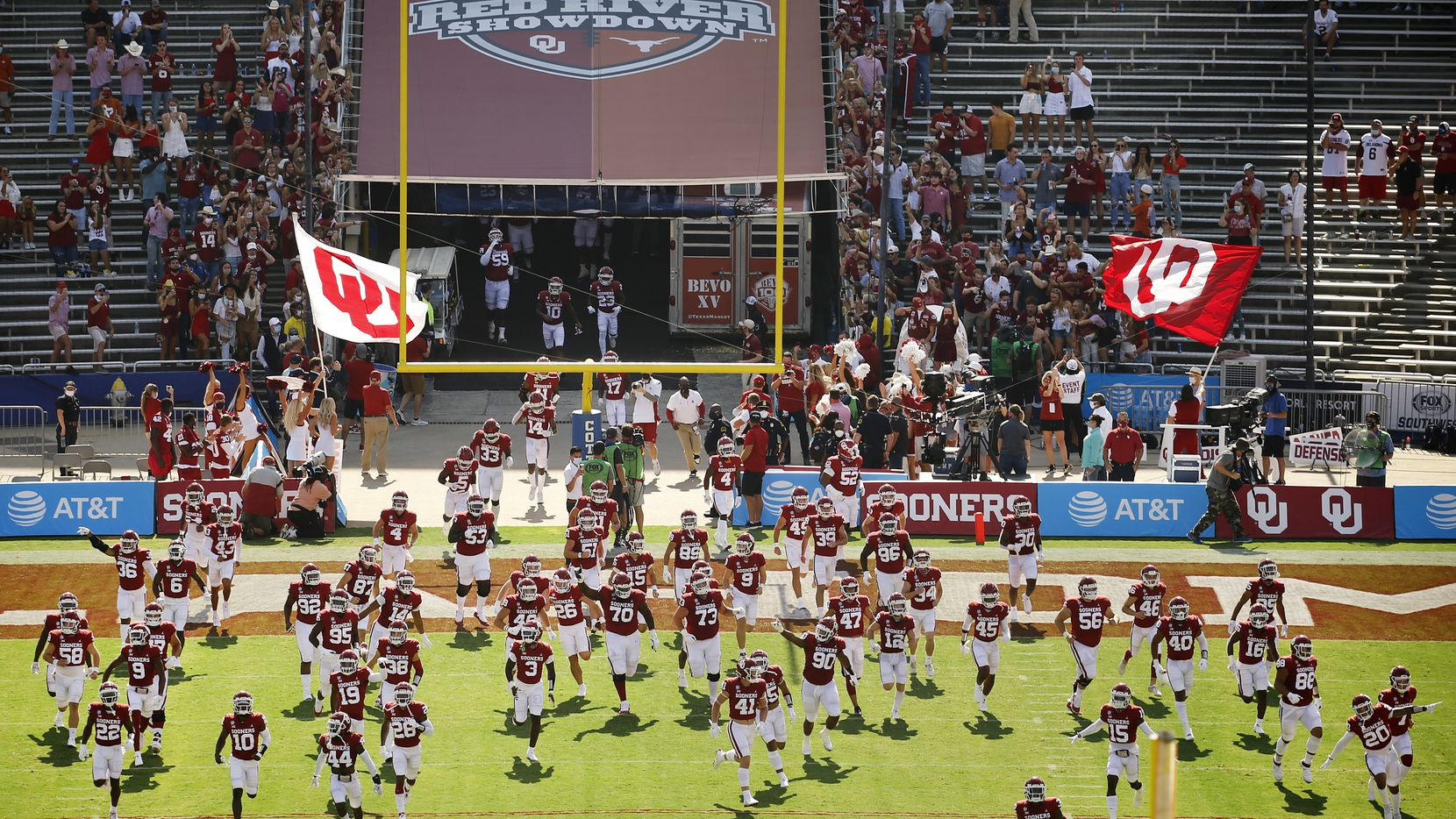 The Oklahoma Sooners football team takes the field to face the Texas Longhorns in the Red River Rivalry at the Cotton Bowl in Dallas, Saturday, October 10, 2020. Oklahoma won in quadruple overtime, 53-45.
