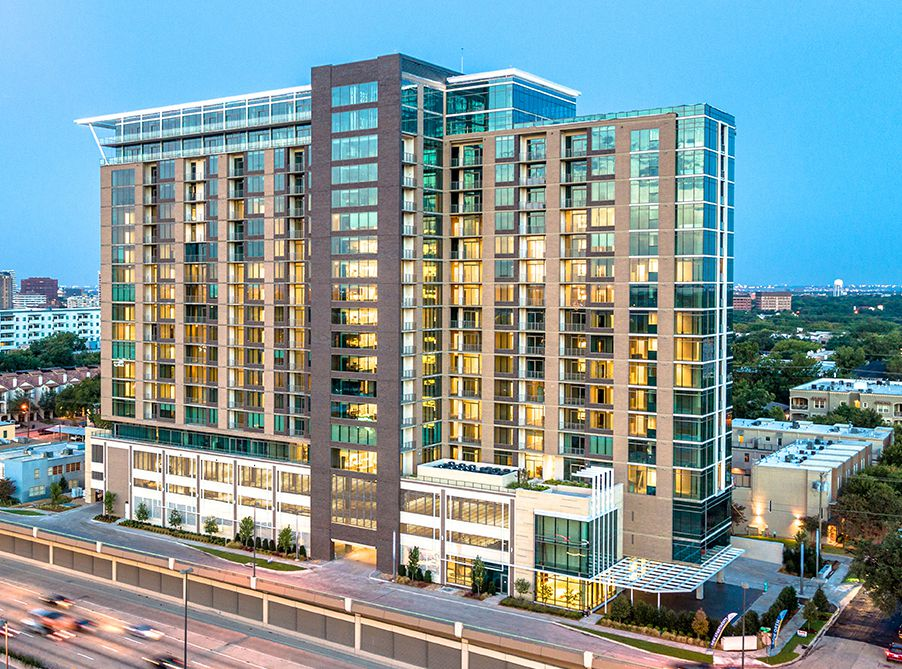 The new apartment tower has more than 300 rental units.