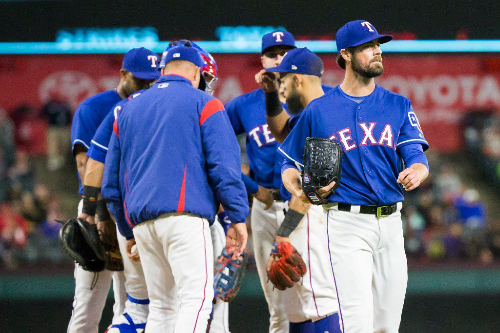 Texas Rangers starting pitcher Cole Hamels exits the game with a lead over the Minnesota Twins during the seventh inning at Globe Life Park on Wednesday, April 26, 2017, in Arlington. (Smiley N. Pool/The Dallas Morning News)