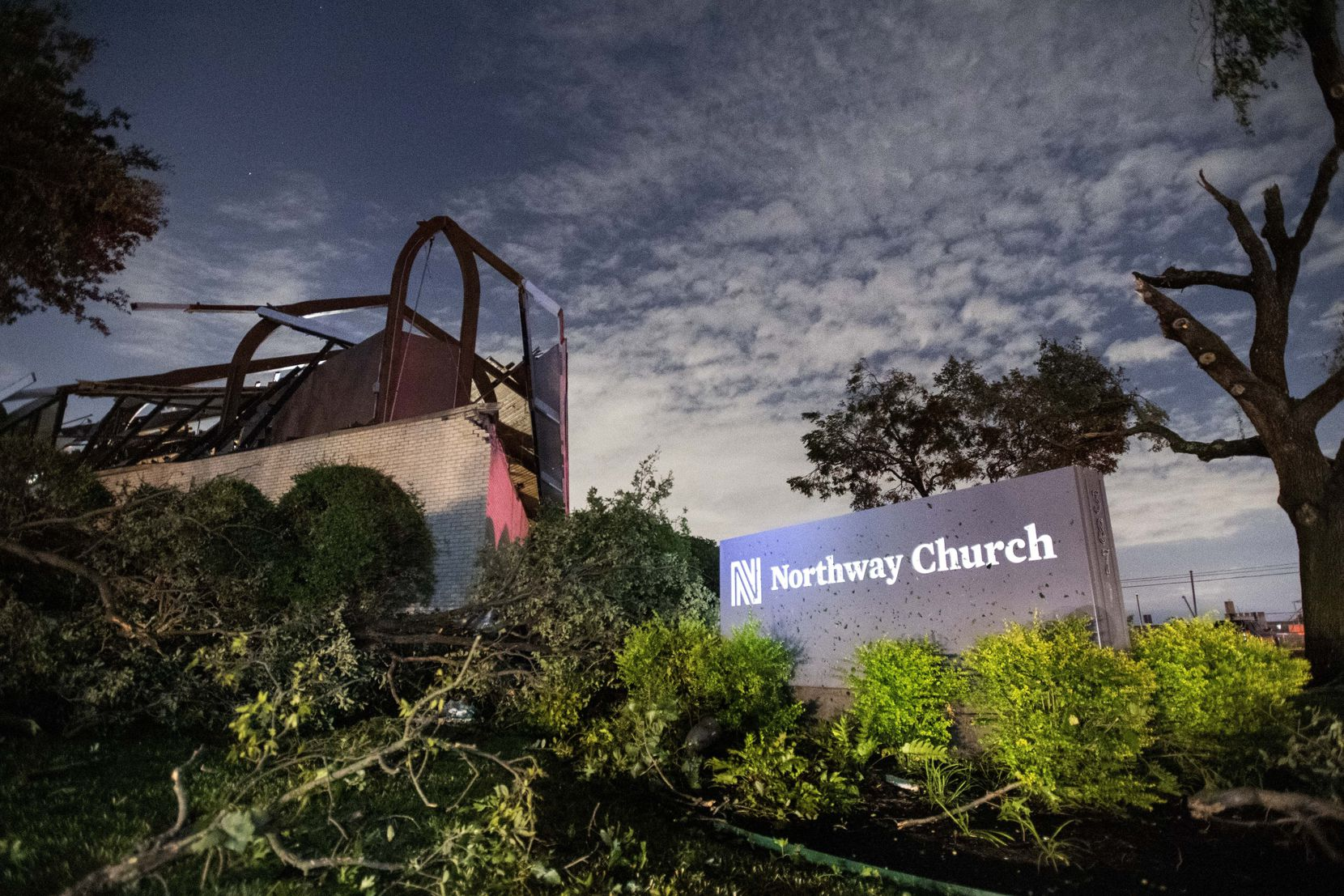 This is how Northway Church looked in the moments after the storm. Today it doesn't look much different, except the trees have been clear. In coming days the northwest Dallas mainstay will be demolished because of the damage caused by the Oct. 20 tornado.