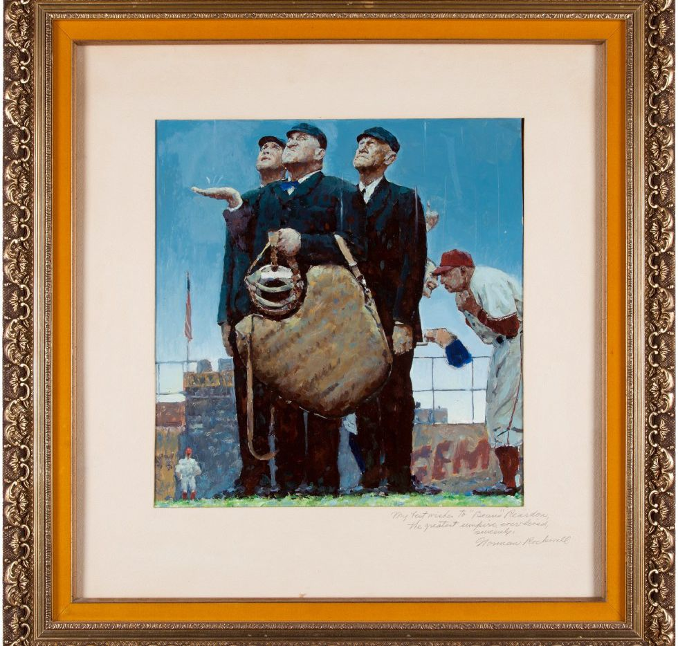 Norman Rockwell's oil on paper Tough Call, a study for his famous painting of the same name. Heritage Auctions is offering the study for sale at its Platinum Night Sports Collectibles Auction. Aug. 19 and 20.