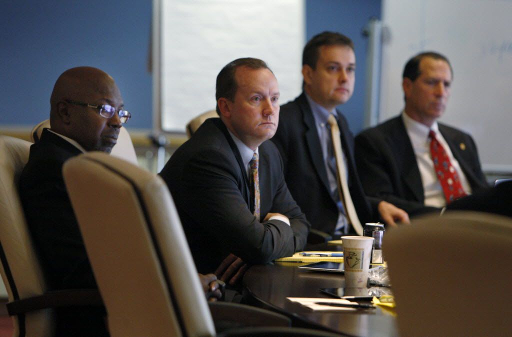 Dallas City Council members (from left) Tennell Atkins, Philip Kingston, Scott Griggs and Lee Kleinman attended a meeting of the board of trustees of the Dallas Police & Fire Pension system in August 2013.