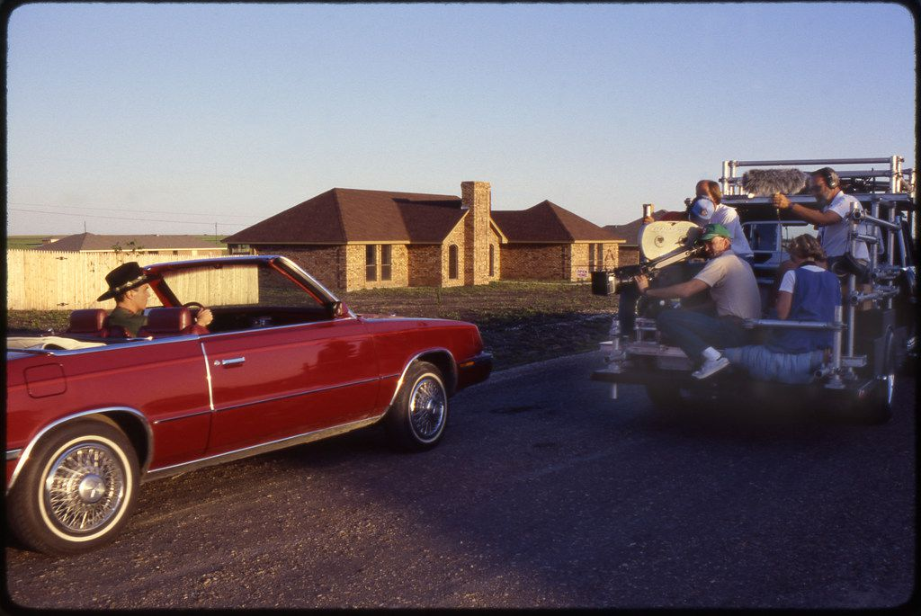 David Byrne drove in his signature maroon 1985 Chrysler LeBaron through the Dorchester Place neighborhood in Sterrett, now incorporated into Waxahachie.