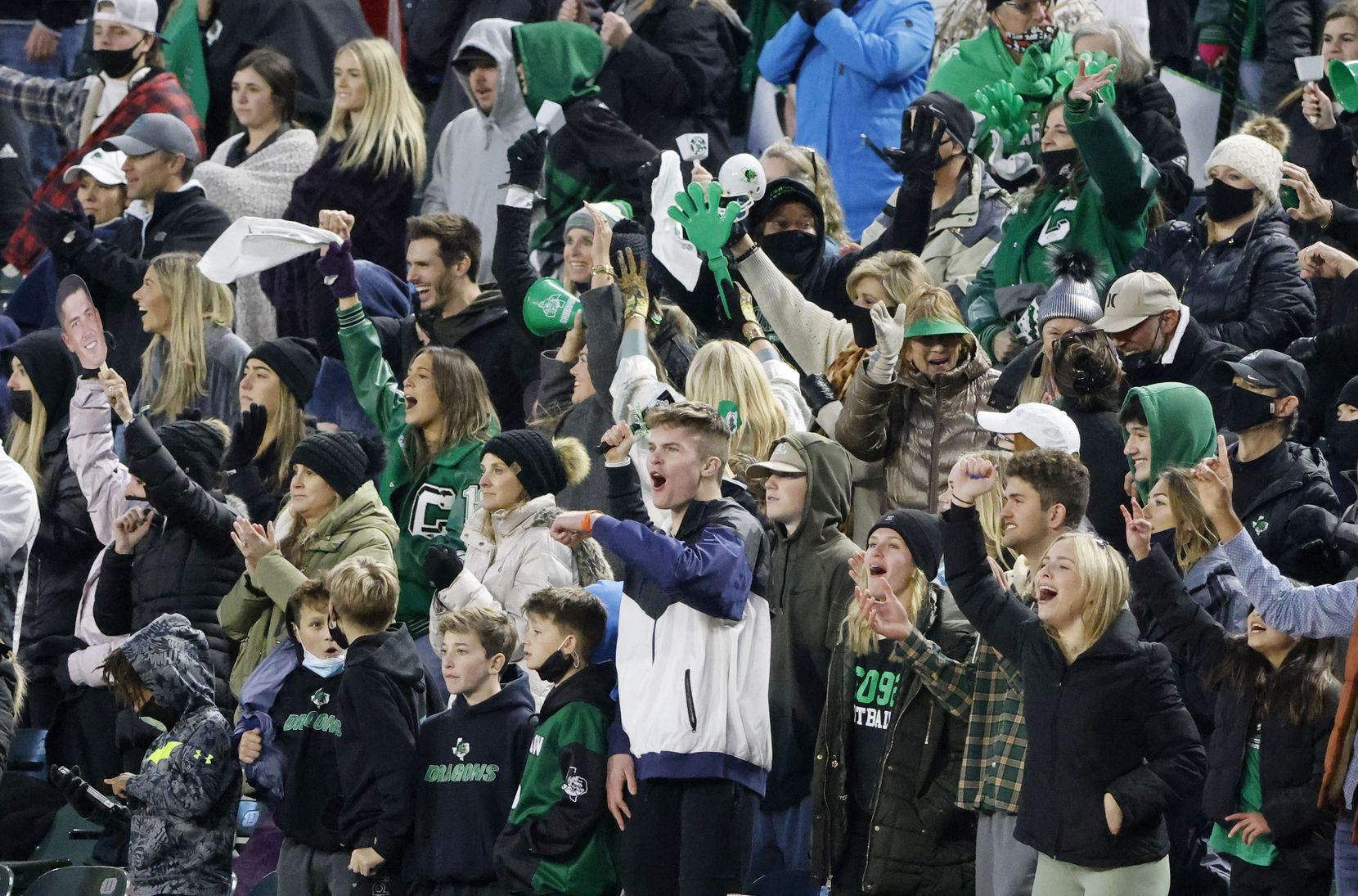 Southlake fans cheer during the Class 6A Division I state high school football semifinal against Duncanville,  in Arlington, Texas on Jan. 9, 2020. (Michael Ainsworth)