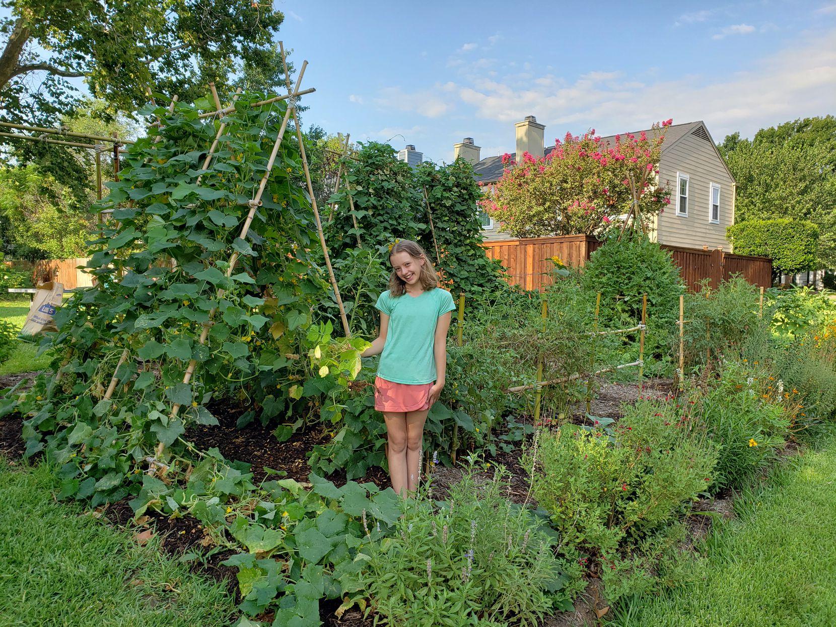 Casey Marsh enjoys her family's garden in Grapevine.