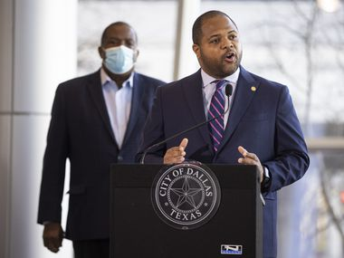 Mayor Eric Johnson speaks during a press conference at Kay Bailey Hutchinson Center in Dallas on Monday, Feb. 1, 2021. Johnson, city officials and Dallas-area elected leaders discussed the ongoing vaccination response. (Juan Figueroa/ The Dallas Morning News)