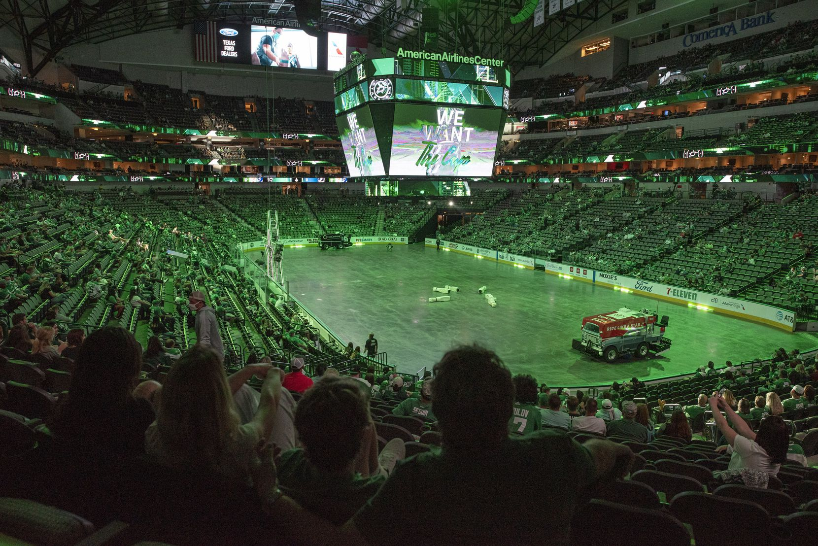 Hockey fans watch the Dallas Stars versus the Tampa Bay Lightning during a watch party at the American Airlines Center for game 1 of the Stanley Cup Final, Saturday, on Sept. 19, 2020. The Dallas Stars won game one 4-1.Ben Torres/Special Contributor
