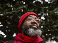 Randy Thornton spent an early evening eating a modest dinner of fruit in Main Street Garden Park in downtown Dallas on Jan. 13, 2020. In May 2019, a heart attack and stroke left him permanently disabled, unable to work or afford housing.